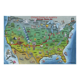 Poster histórico del mapa del dibujo animado de lo póster
