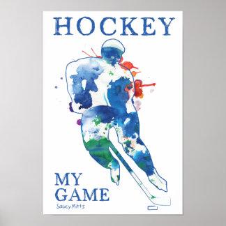 Póster Hockey mi poster de la acuarela del juego