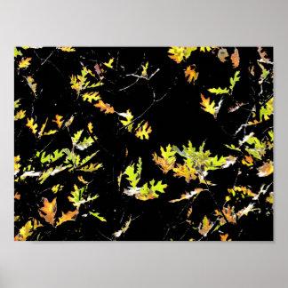 Póster Hojas abstractas del roble del otoño