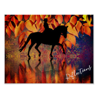 Póster Hojas de otoño del caballo y del jinete del