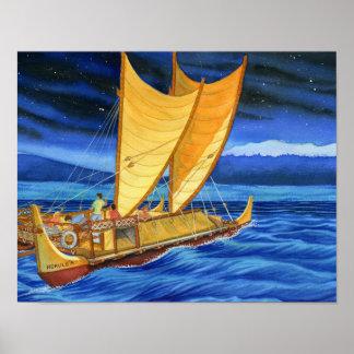 Póster Hokulea que viaja la canoa
