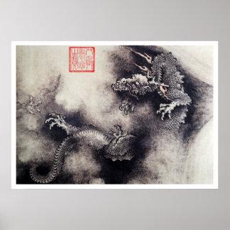 Póster Hokusai - volutas del dragón