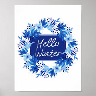 Póster Hola acuarela azul del estampado de flores A4 del