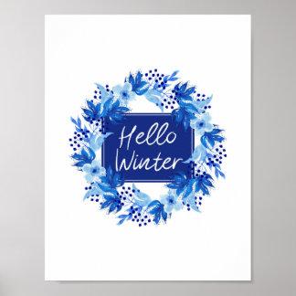Póster Hola acuarela azul del estampado de flores del