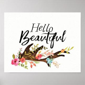 Póster Hola asta y flores hermosas