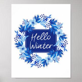 """Póster Hola estampado de flores azul 8"""" del invierno"""""""