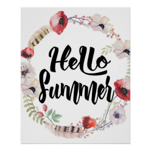 Póster Hola verano, Watercolor Floral Wreath