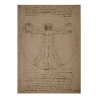 Póster Hombre de Vitruvian -- Leonardo da Vinci