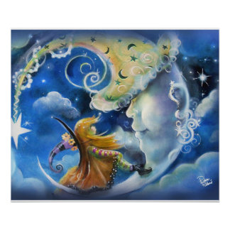 Póster Hombre-en--Luna y bruja