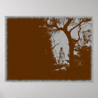 Póster Hombre lobo en poster de la variante del bosque