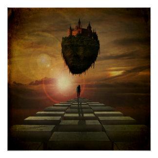 Póster Hombre que camina hacia castillo en el cielo