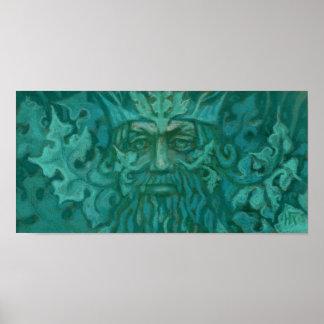 Póster Hombre verde, rey Fantasy Art Pastel Painting del
