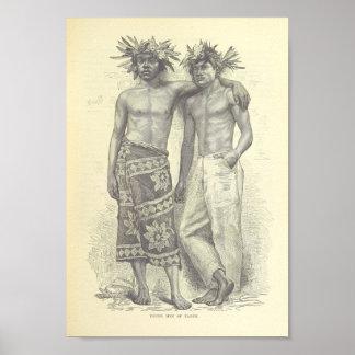 Póster Hombres jovenes de Tahití