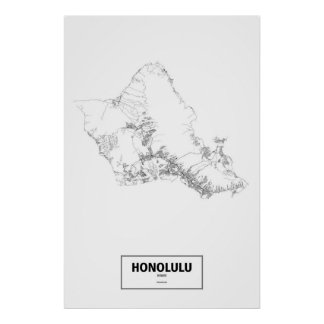 Póster Honolulu, Hawaii (negro en blanco)