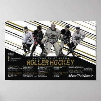 Póster Horario del hockey del rodillo de Akron