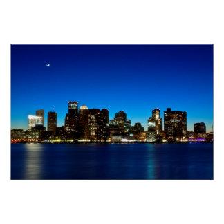 Póster Horizonte de Boston con la luna