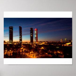 Póster Horizonte de la noche de Madrid