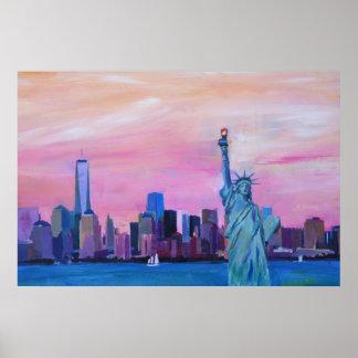 Póster Horizonte de New York City - de Manhattan con la
