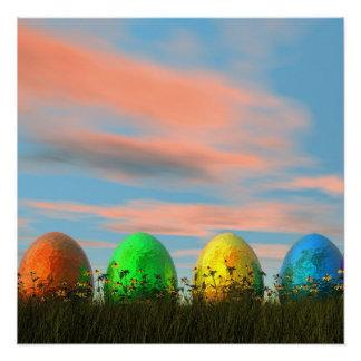 Póster Huevos coloridos para pascua - 3D rinden