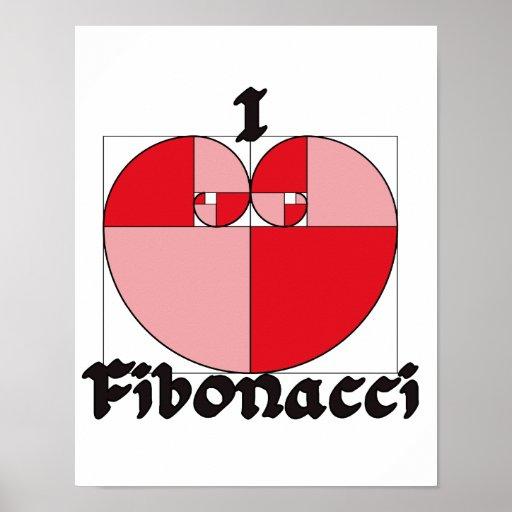 Póster I corazón Fibonacci