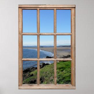 Póster Ilusión de la opinión de la playa de una ventana