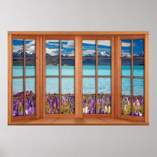 Póster Ilusión falsa de la ventana - lago mountain en la