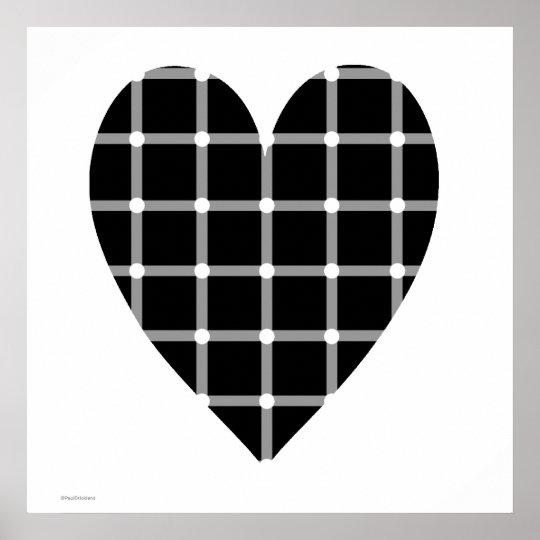 Póster Ilusión óptica Del Corazón Blanco Y Negro Zazzlees