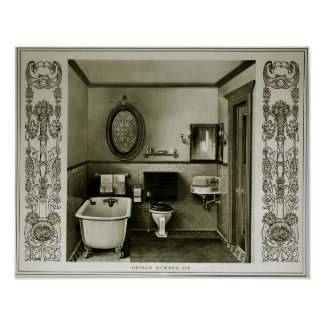 Póster Ilustracion 1903 del sitio del baño del vintage
