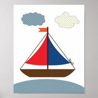 Póster Ilustracion del barco del cuarto de niños para los