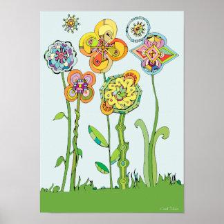 Póster Ilustraciones caprichosas coloridas de las flores