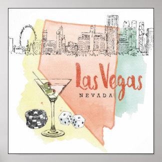 Póster Imagen del bosquejo de la acuarela de Las Vegas,