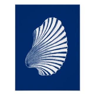 Póster Impresión, azules marinos y blanco de bloque de