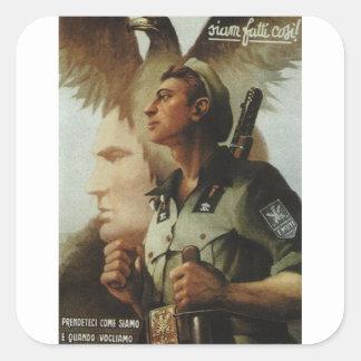 Poster independiente de la propaganda de Ettore Pegatina Cuadrada
