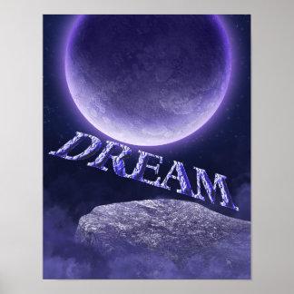 Poster inspirado de la fantasía ideal de la luna a