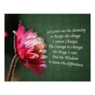 Poster inspirado de la flor del rezo de la serenid