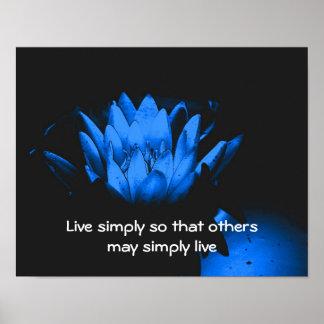 Poster inspirado de la simplicidad de Lotus azul