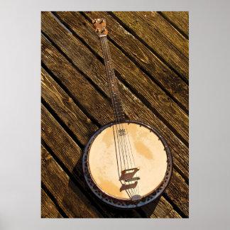 Póster Instrumento de música del banjo en el poster de