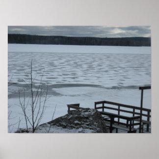 Póster Invierno en el lago