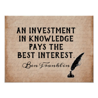 Póster Invierta en el conocimiento - cita de Ben Franklin