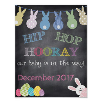Póster Invitación del embarazo de Hip Hop Hooray Pascua