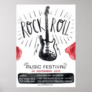 Póster invitación del festival Watercolor rock and roll