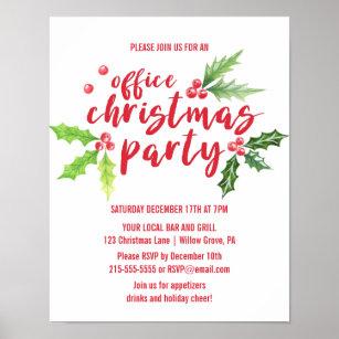Póster Invitación del Fiesta de Navidades de Watercolor