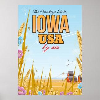Póster Iowa los E.E.U.U. cartel del viaje del dibujo