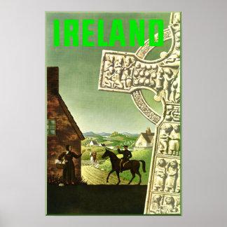Póster Irlanda.  Poster del viaje del vintage