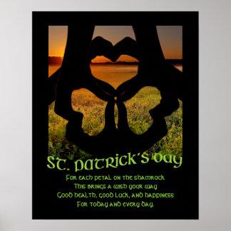 Poster irlandés del trébol S del corazón de la Póster