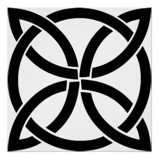 Póster irlandés pagano del nudo del símbolo antiguo