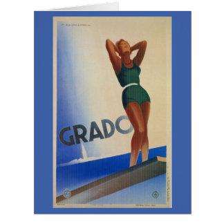 Poster italiano del viaje de Grado del vintage Felicitaciones