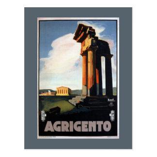 Poster italiano del viaje del vintage de Agrigento Postal