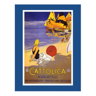Poster italiano del viaje del vintage de Cattolica Postal