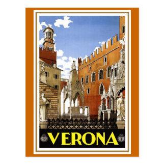 """Poster italiano del viaje del vintage de """"Verona"""" Postal"""